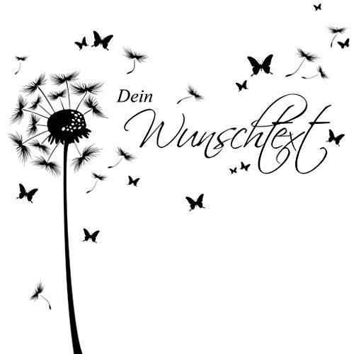 Wandtattoo Pusteblume Schmetterling mit Ihrem Wunschtext/weiß / 1,69 m Höhe x 5,32 m Breite