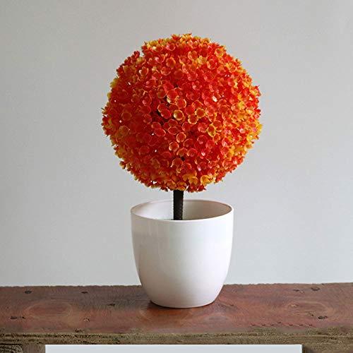 Haihuic Alberi da 10 Centimetri Artificiali di ARS topiaria Artificiale Piante da Tavolo Mini Faux con vasi per Fiori Bianchi per la casa, Il Bagno, la Decorazione della casa Arancia