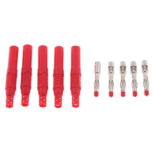 Almencla 5pcs Insulation Bananenstecker Test Pen Sondenstecker Mit Schutzhülle - rot (Nakamichi Wireless-lautsprecher)