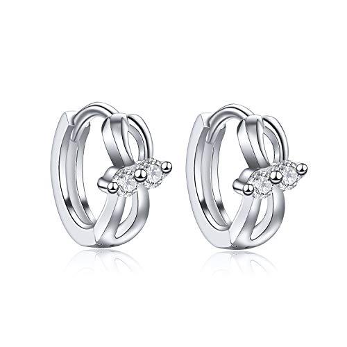 Creolen Damen Ohrringe Silber 925 Für Mädchen Klein Creole Ohrringe, Bogen 3A Zirkonia, 8 mm ZENI SILVER