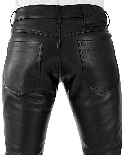 Bockle® Bump - Pantalon en cuir noir pour homme fermeture boutons casual moto Noir