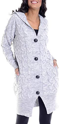 LEIF NELSON Damen Strick-Jacke | Frauen Basic Freizeitjacke mit Kapuze | Damen Hoodie Sweatjacke Kleidung Damen LN10190 | Größe M, Grau