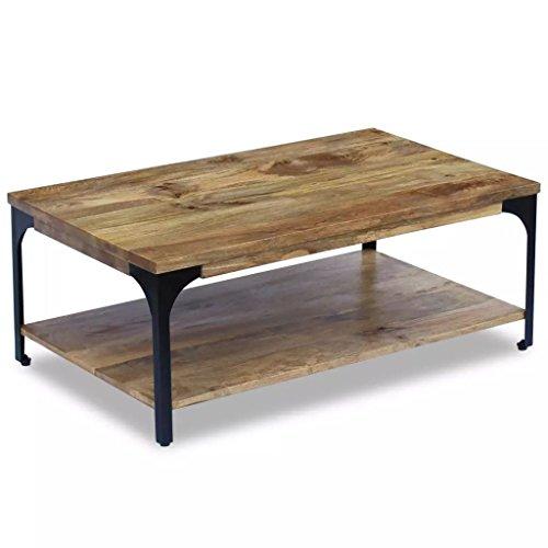 Lingjiushopping Couchtisch Holz Mango 100x 60x 38cm mit einem starken Rahmen Regal unter den Tisch Material: Mango Holz und Stahl (Aus Gehärtetem Glas Stahl-rahmen)