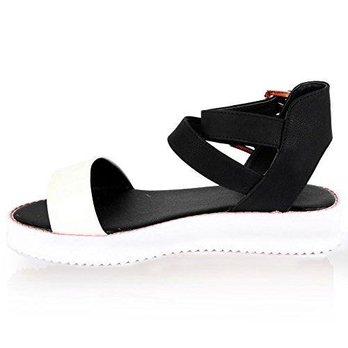 Mesdames Femme Cheville Sangle Gladiateur à crampons Flatform Chaussures Plate-forme Sandales Taille multicouleur - Blanc/noir