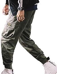 814a934423c2 Herren Freizeit Hosen Lose Volltonfarbe Tether Elastische Taille Hosen  Multi-Pocket Patch Tarnung Basic Herbst
