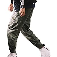 Herren Hip Hop Street Mehrere Taschen Hose, Camouflage Druck Pluderhosen Pure Color Workpants Klettverschluss Kleine Fußhose Lässige Outdoor Baggy Bottoms Mid-Taille
