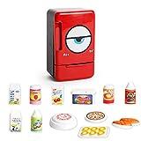 JEJA Pretend Play Kinderküche Spielset - Elektrischer Kühlschrank Lebensmittelkochset Batteriebetriebene Sounds & Lights Geschenk für Jungen Mädchen