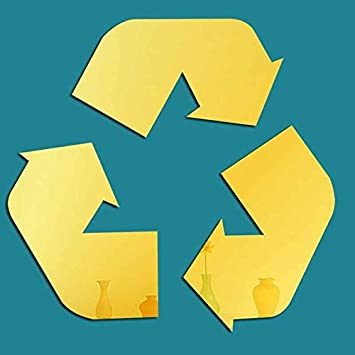 Recycling Symbol green vinyl cut-out sticker 4.5""