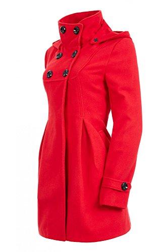 Laeticia Dreams Damen Mantel mit Kapuze Jacke XS S M L XL XXL Rot