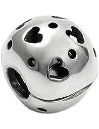 Diseño de madera envejecida Queenberry 925 de plata de ley ropa o para corazón w/Love tapón Lock carcasa rígida con cuentas de cierre para Pandora pulseras de seguridad europeo para pulsera Biagi Chamilia Troll