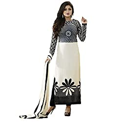 Maxthon Fashion Women Printed Regular Wear Unstitched Dress Material(Dress Material White New 3025)
