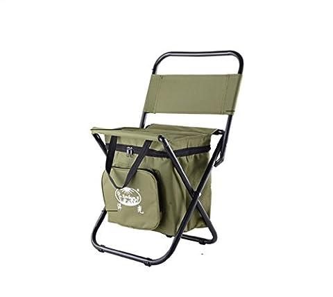 Outdoor Klappstuhl Portable Rückenlehne Stuhl Angeln Reisen Mit dem Auto Easy Stuhl Multifunktions-Isolierung Eis Hocker , Army Green