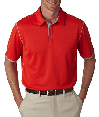 Climacool Mesh-golf-polo-shirt (adidas Golf Mens Climacool® Mesh Color Hit Polo (A221) -RED/MID GR -XL)