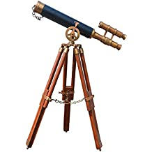 Nauticaz Antique Finish Brass Marine Telescope with Tripod Stand , Brown