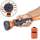 #10: HOKIPO® 9 Pattern High Pressure Garden Hose Nozzle Water Spray Gun with Connector