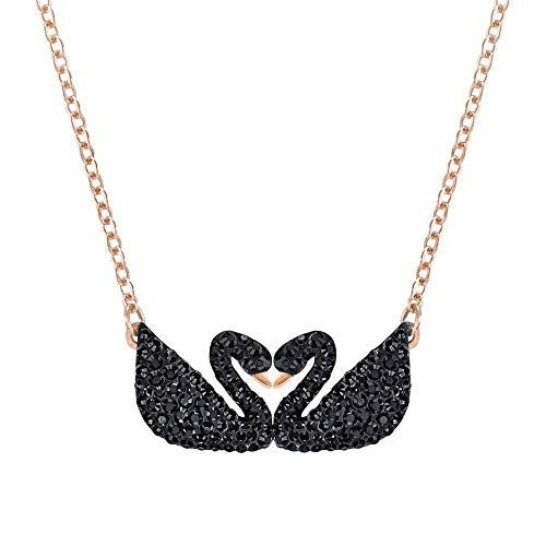 Swarovski Iconic Swan Double Halskette, schwarz, rosé Vergoldung Rose Swan