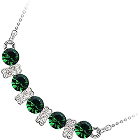 GWG® Collana Donna Placcata Argento Sterling Centrale con Cristalli Tondi Colorati Alternati a Barrette con (Verde Malachite Cristallo)