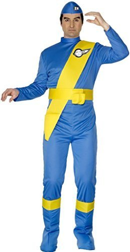 Costume Virgil Thunderbirds (Smiffy's Thunderbirds Virgil Costume with Jumpsuit, Hat, Bootcovers and Sash - Blue, Medium by)