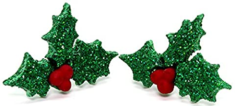 Bluebubble MERRY CHRISTMAS Glitter Holly Berries Stud Earrings With FREE Gift Box
