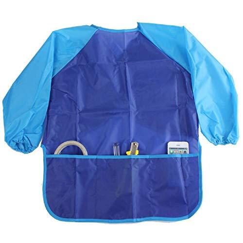 e Kinder malen Kochen Essen Fütterung Langarm-Schürze Kittel mit 3 Taschen (Blau) ()