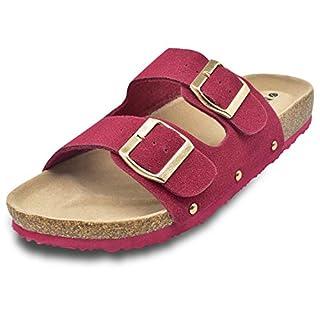 925e3fa45b0bc ONCAI Damen Pantolette Bequeme Hausschuhe mit Kork-Fußbett Suede (39 EU,  rot)
