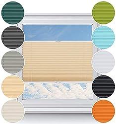 Rollo Studio Plissee nach Maß, Fenster Montage in Glasleiste mit Bohren, Verdunklung Rollos, für Fenster und Balkontür, Verdunklungsrollo, Sonnenschutz Jalousien, Plisseerollo, Vanille