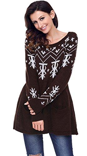 SZIVYSHI Weihnachten Fair Isle Babydoll Hängeroberteil Trapez Mutterschaft Pullover Strickpullover Sweater Jumper Oberteil Top Braun L (Braun-fair-isle-pullover)