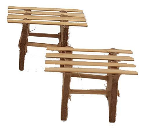 Piccoli monelli presepe accessori tavolino legno per decorazioni natalizie e allestimenti confezione 2 pz cm 4 x 3 cm