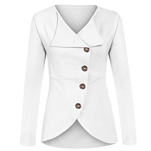 Meaneor Damen Knopf Business Jacke Blazer Übergangsjacke Military Jacke Slim Fit Mantel Reverskragen Asymmetrisch Weiß
