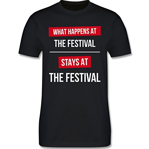Festival - What happens on the festival stays at the festival - Herren Premium T-Shirt Schwarz