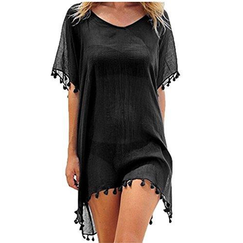 LazLake Damen Strandkleid Bikini Cover Up Quasten Strandponcho Sommer Bademode 6696liusu Black