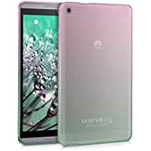 kwmobile Funda transparente para Huawei MediaPad M1 8.0 carcasa de silcona TPU para tablet funda protectora con Diseño bicolor en rosa fucsia verde transparente
