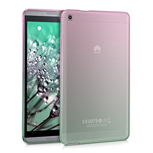 kwmobile Crystal Hülle für Huawei MediaPad M1 8.0 TPU Silikon Case Tablet Schutzhülle Cover mit Zwei Farben Design in Pink Grün Transparent