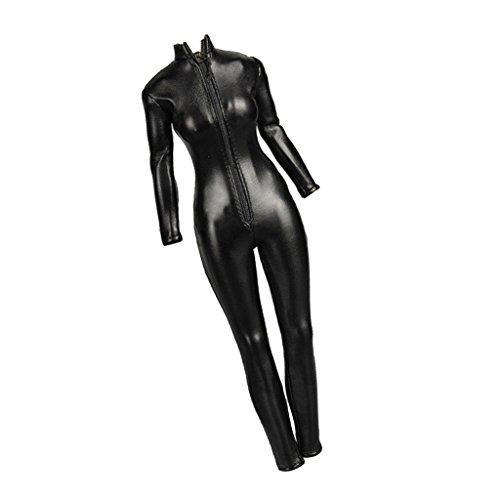 sharprepublic 1:6 Weibliche Action Figur Kleidung Kunstleder Overall Jumpsuit Set Schwarz