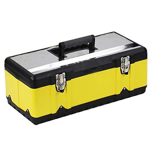 Werkzeugkasten Metall-Werkzeugkasten Dicker Werkzeugkasten aus Edelstahl Aufbewahrungsbox Aufbewahrungs- und herausnehmbare Ablage Rutschfester Griff 5 Größen Verstauen und Sortieren