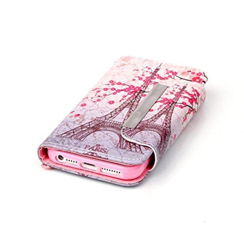 """Trumpshop Smartphone Case Coque Housse Etui de Protection pour Apple iPhone 6/6s 4.7"""" + Don't Touch My Phone (Impliquer) + Smartphonecoque Portefeuille PU Cuir Anti-Choc Tour Eiffel"""