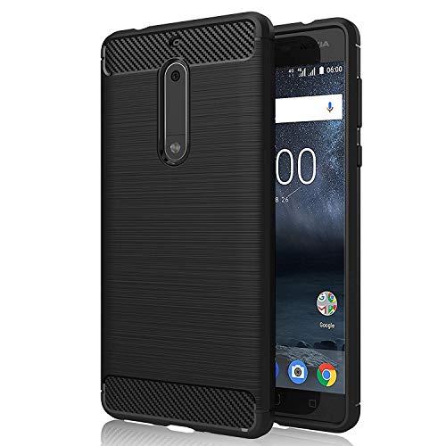 """GeeRic Für Nokia 5 Hülle Schwarz Silikon Handyhülle für Nokia 5 Handy Schutzhülle Karbon Look Elastisch Stylisch Soft Case Cover 5.2"""""""