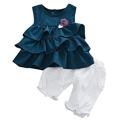 LSAltd Mode Sommer Kleinkind Kinder Baby Mädchen Süße Blume Rüschen Kuchen Schicht Sleeveless Reine Farbe Tops + Einfarbig Laterne Shorts Baumwolle Outfit Set