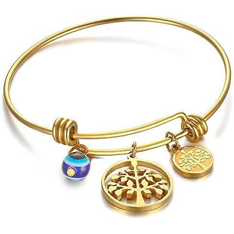 LianDuo acciaio inossidabile Love Family e Wishing Tree Charm filo regolabile braccialetto del braccialetto d