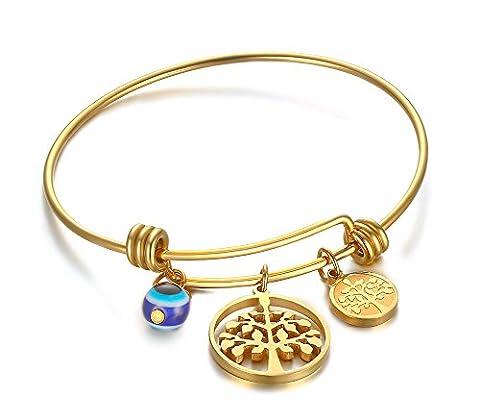Vnox Damen Mädchen Edelstahl Baum der Familie Charme Expandable Einstellbare Wire Armreif Armband Gold