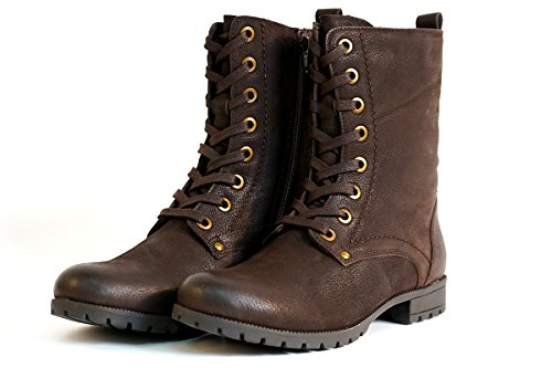 ff2c31df951d Aspele Womens Leather Black Brown Combat Military Style Biker Ankle Boots  With Lace up and Zip (6 UK
