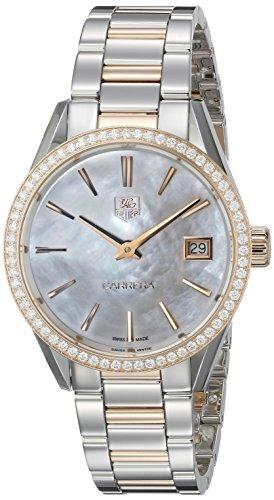 TAG Heuer de la mujer war1353. bd0774Carrera oro rosa reloj de cuarzo analógica Swiss