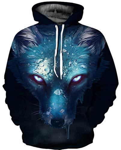 Ocean Plus Herren 3D Mehrfarbig Hoodie Schädel Kapuzenpullover Bunt Wolf Pulli Totenkopf Sweatshirt mit Kaputzen (L/XL (Brustumfang: 114-134CM), Blaugrüner Fleck Wolf)