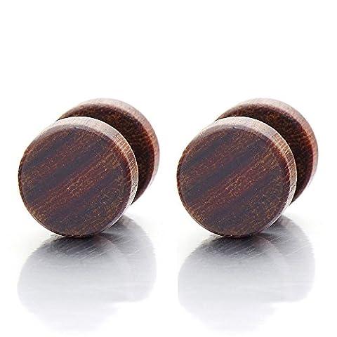 8MM Bois Cercle Boucles d'oreilles Homme Femmes - Bouchon d'oreille Faux - Jauge d'oreille Faux Cheater Fake - 1 Paire