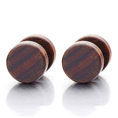 8MM Holz Kreis Herren Damen Ohrstecker Ohrringe Fakeplugs Fake Ohr-Plug Tunnel Gauges Ohr-Piercing. 1 Paar