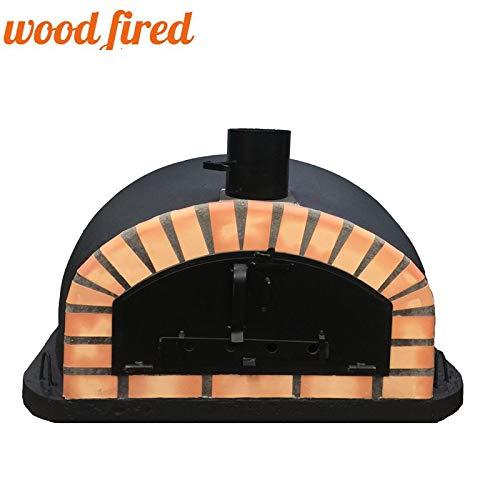 Black Italian Wood Fired Pizza Oven, Orange Arch, Black Door, 100cm