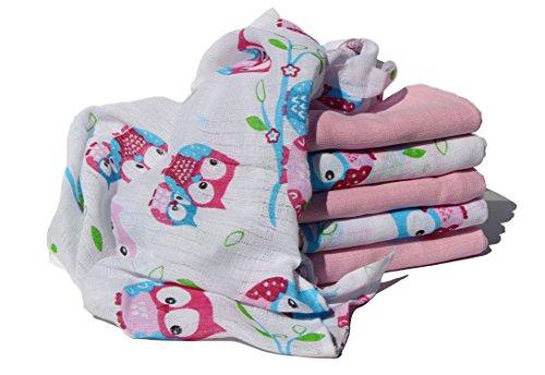 Clevere Kids Mulltücher Set 6 Stück Spucktücher Mullwindeln mit Eulen (Eule rosa-rose)