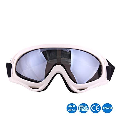 Motorrad-Reitbrille Erwachsene Motocross Racing Aviator Goggles Anticrash Lenses Skilaufen Radfahren Fahren UV-Schutz,White