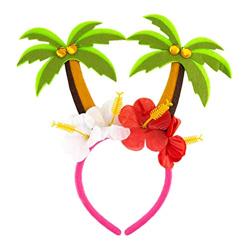 Kostüm Party Und Accessoires Beach - Oblique Unique® Haarreif mit Palmen und Blumen Blüten Tropischer Haarreifen Kostüm Accessoire für Hawaii Party Karneval Fasching Motto Beach Sommer Party