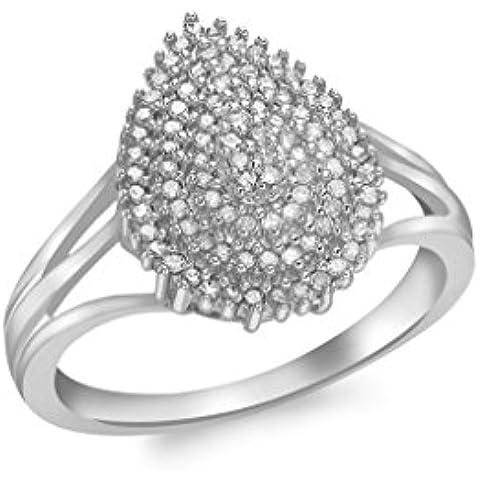 9ct Oro Blanco Diamante Cluster lágrima Anillo